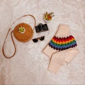 NWT Francesca's Rainbow Cream Cowl Sweater SZ L